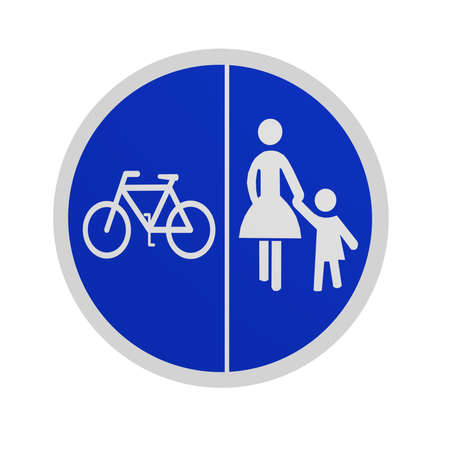 German traffic sign (special path): separate cycle and sidewalk, isolated in white on the front. 3d rendering