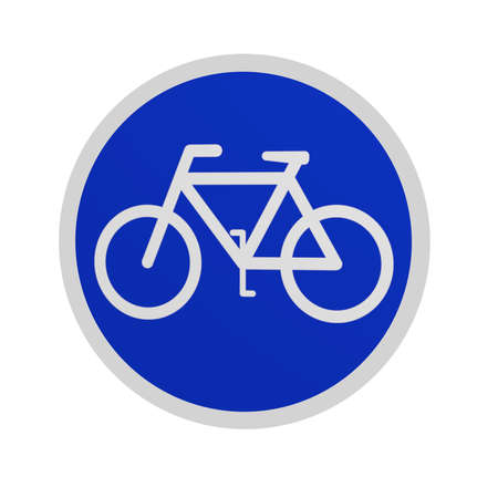 German traffic sign (special routes): bike path, isolated in white on white. 3d rendering Standard-Bild