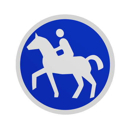 German traffic signs (special path): Equestrian trail, in front view isolated on white. 3d rendering