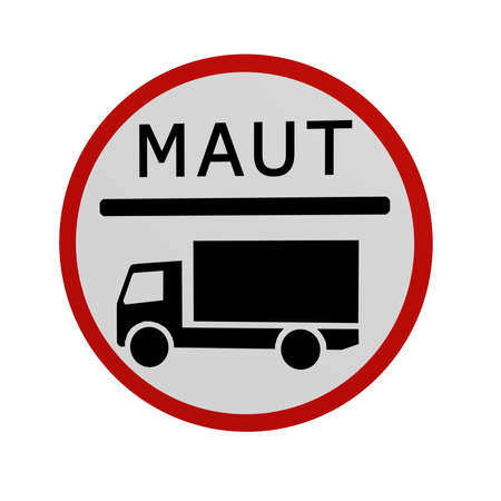 German traffic sign: Toll for truck, in front view, isolated on white. 3d rendering Standard-Bild