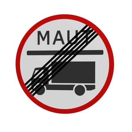 German traffic sign: Toll for trucks finished, in front view, isolated on white. 3d rendering