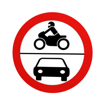 German traffic sign (prohibition of traffic): ban on motorcycles and motor vehicles, in front view, isolated on white. 3d rendering Standard-Bild