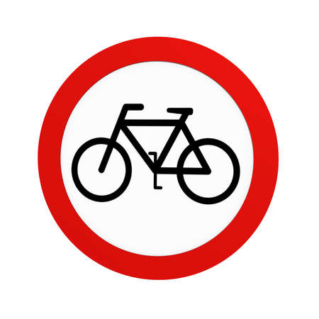 German traffic sign (prohibition of traffic): prohibition for cyclists, in front view, isolated on white. 3d rendering