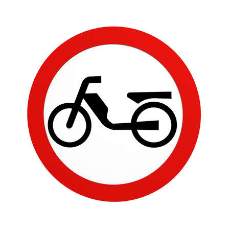 German traffic sign (prohibition of traffic): ban on mopeds, in front view, isolated on white. 3d rendering