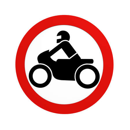 German traffic sign (prohibition of traffic): ban on motorcycles, in front view, isolated on white. 3d rendering