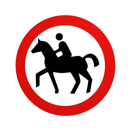 German traffic sign (prohibition of traffic): prohibition for riders, in front view, isolated on white. 3d rendering