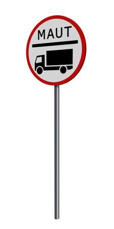 german traffic sign: truck toll, isolated on white. 3d rendering Standard-Bild