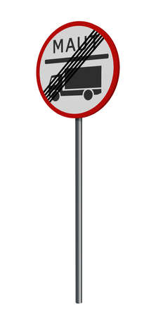 german traffic sign: truck toll stopped, isolated on white. 3d rendering