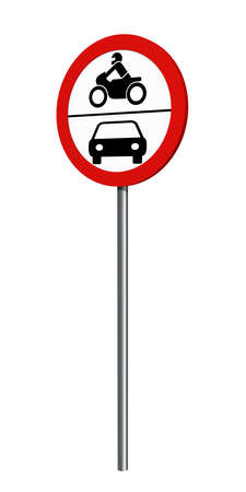 German traffic sign (prohibition of traffic): ban on motorcycles and motor vehicles, isolated on white. 3d rendering