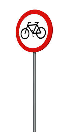 German traffic sign (prohibition of traffic): prohibition for bicycles, isolated on white. 3d rendering