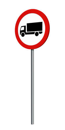 German traffic sign (prohibition of traffic): ban on trucks, isolated on white. 3d rendering