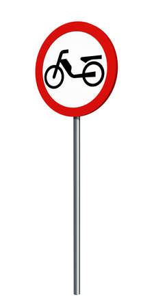 German traffic sign (prohibition of traffic): ban on mopeds, isolated on white. 3d rendering