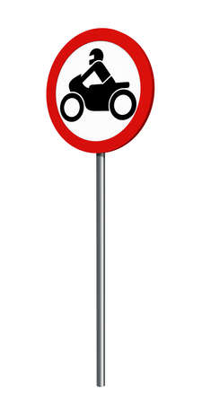 German traffic sign (prohibition of traffic): ban on motorcycles, isolated on white. 3d rendering