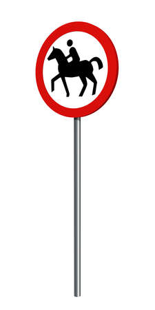 German traffic sign (prohibition of traffic): prohibition for riders, isolated on white. 3d rendering