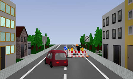 Road with construction site, car, street signs and houses. 3d rendering Text on sign in german: environment, zone Stock Photo