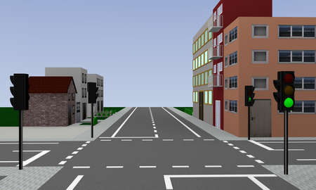 empty intersection with green glowing traffic lights and houses. 3d rendering Stock Photo
