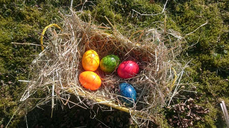 Easter basket with colorful eggs in a hay-filled basket on a meadow