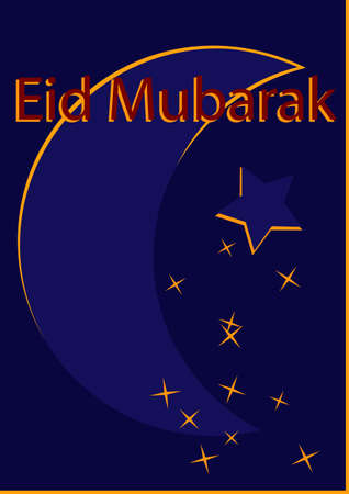 Greeting card with crescent in dark blue-yellow with the text Eid Mubarak in red.