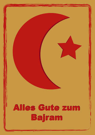 Greeting card to Eid Mubarak with text in German, (All the best) and Albanian (Bajram). Illustration