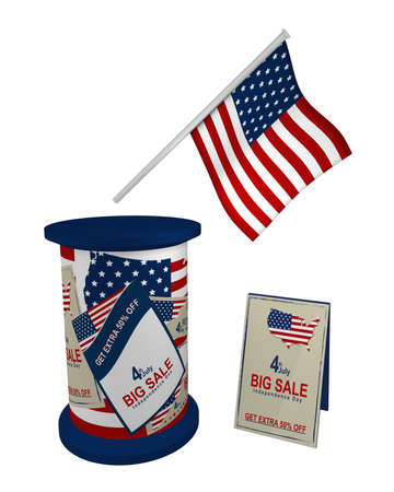 Promotional items for the 4th of July. Flag, advertising pillar and stand, isolated on white, 3d rendering