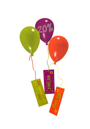 Balloons with Sale 20% advertising isolated on white. 3d rendering Stock Photo