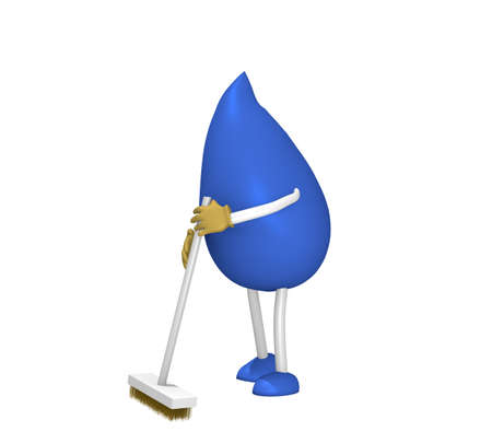 3d figure in the form of a drop with a broom sweeping. 3d rendering