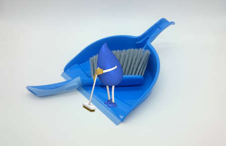 Photo of a dustpan on which a 3d character of a drop-man with broom sweeps. 3d illustration