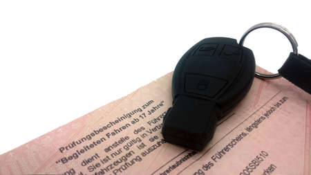 Text German Examination certificate for accompanied driving from 17 years, with car key