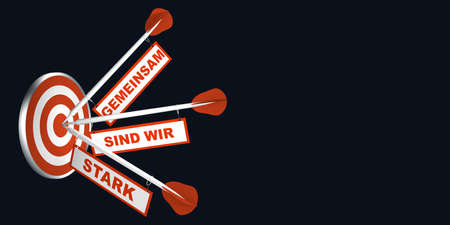 Arrows on target. Concept for motivation. With text in German: Together we are strong. 3d rendering