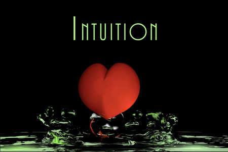 Heart falls in green water. Intuition, 3d rendering Stok Fotoğraf