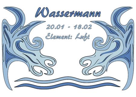 Design: star sign Aquarius, text in german: Aquarius, date, element: air. Vector Eps10