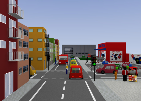 City view with traffic situation: Traffic regulation by a policeman. 3d rendering 写真素材