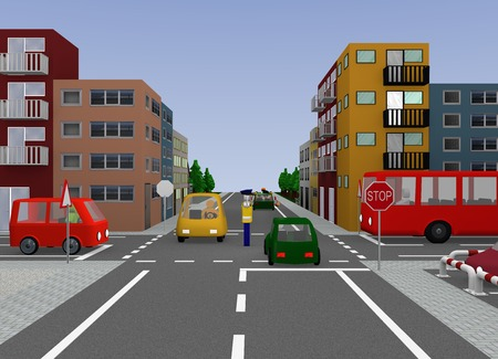 City view with traffic situation: traffic control by a police officer, free travel. 3d rendering