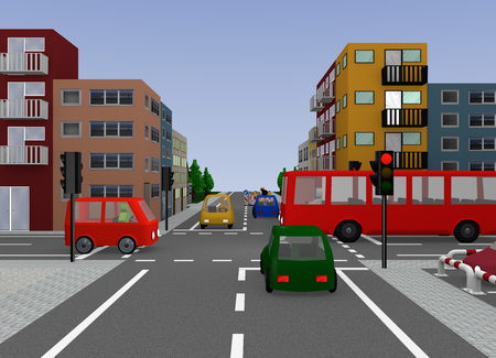 Crossroad with red traffic light. 3d rendering 写真素材 - 104597070