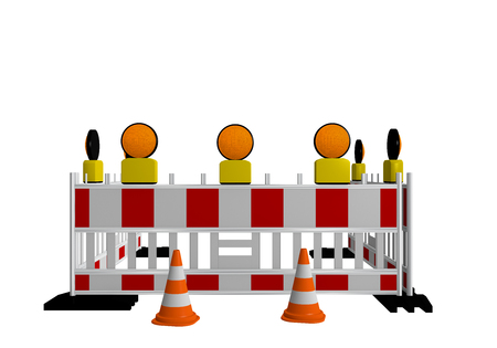 Construction site shut-off with warning lights and traffic cones. 3d rendering