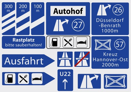 German Freeway signs, collection, vector graphics eps10 Text in German: resting place, please keep rest area clean, exit, Cross Hannover East