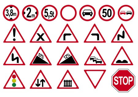 Collection of german traffic signs. Vector file eps 10