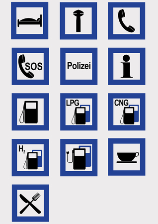 Collection of information signs, vector illustration eps 10, Text police in German