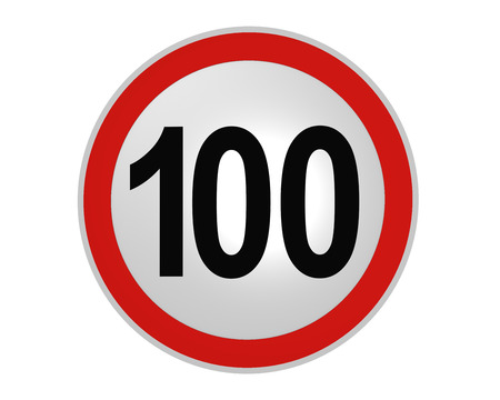 German traffic sign: speed limit 100 km / h, front view, 2d rendering 版權商用圖片