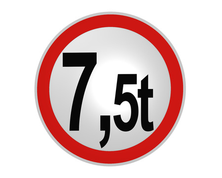 German road sign: actual mass, 7.5t from the front. 2d rendering