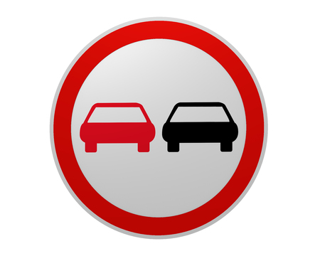 German traffic sign: no passing, front view, 2d rendering 写真素材
