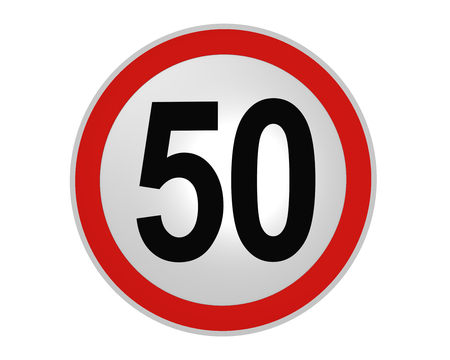 German traffic sign: speed limit 50 km / h, front view, 2d rendering
