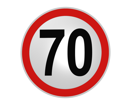 German traffic sign: speed limit 70 km  h, front view, 2d rendering