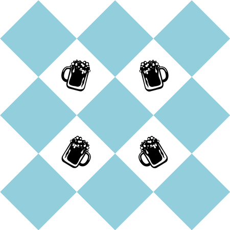 Seamless pattern for Oktoberfest in blue white checkered with beer glass. vector file eps 10