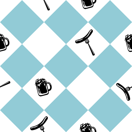 Seamless pattern for Oktoberfest in blue white checkered with beer glass and bratwurst. vector file eps 10