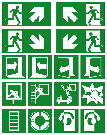 Collection of current escape signs (escape routes) according to ASR (A1.3) / ISO Eps 10 vector file Illusztráció