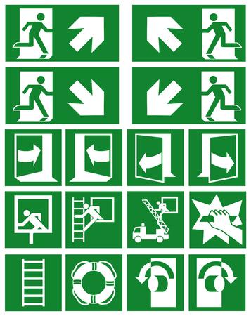 Sammlung aktueller Fluchtzeichen (Fluchtwege) gemäß ASR (A1.3) / ISO Eps 10-Vektordatei Vektorgrafik