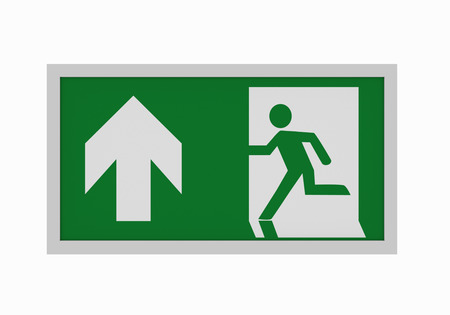 current escape signs according to ASR A1.3: Emergency route straight ahead. Front view, 3d rendering Imagens - 106103520