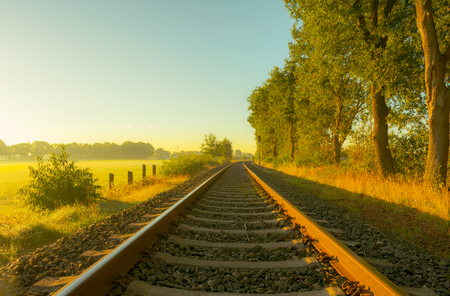 Lonely railroad track in the morning Standard-Bild - 109800618