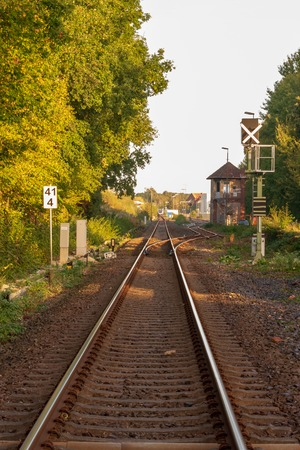 Rail track with switch Location: Germany, North Rhine-Westphalia Standard-Bild - 109581698